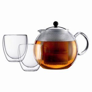 Bodum K1833-16 - Théière à piston Assam Set 1,5 L + 2 verres