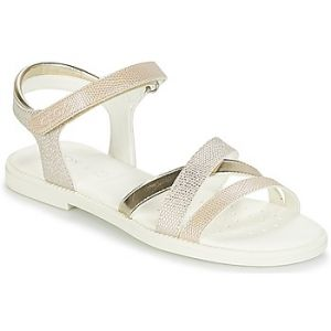 Geox Karly D, Sandales Bout Ouvert Fille, Beige (Beige/Gold), 35 EU