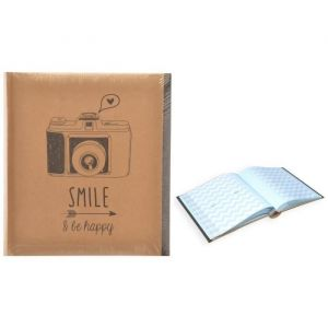 Alb photo rigide Kraft avec Mémo 200 photos 11 x 15 cm Smile be happy