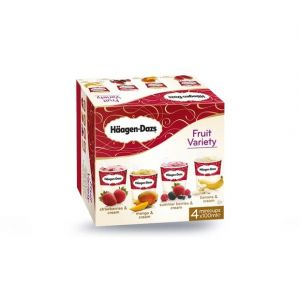 Häagen-dazs 4 Minipots de glace, Fruit Attraction, Strawberries & Cream, Mango & Cream, Summer Berries & Cream et Banana & Cream - La boîte de 4 pots, 349g