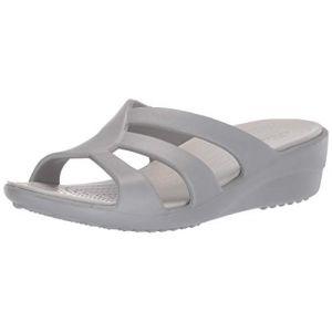 Crocs Tongs Sanrah Strappy Wedge - Silver / Pearl White - EU 34-35