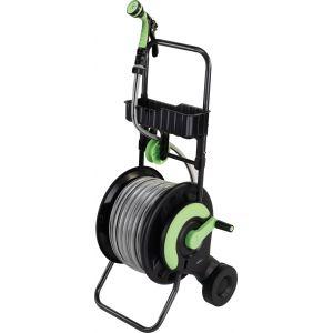 Cap Vert Dévidoir d'arrosage équipé d'un tuyau de 25 m - Diamètre tuyau 15 mm - Noir et vert