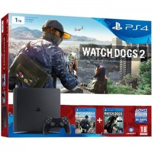 Sony PS4 Slim 1 To + Watch Dogs 2 + Watch Dog (Voucher)