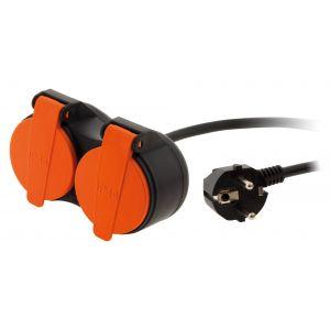 Zenitech Rallonge étanche 2 prises 2P+T H07RN-F 3x 1,5mm² 10m avec clip de fixation orange