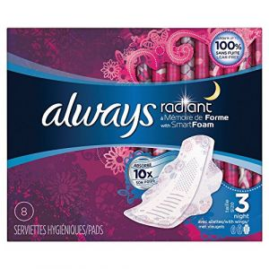 Always Radiant Night - Set de 8 serviettes hygiéniques ailettes taille 3