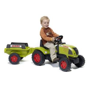 Falk Tracteur à pédales Claas Ares avec remorque
