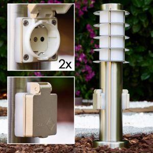 Hofstein Lampe d'extérieur Tunes avec 2 prises - Lampe sur pied moderne en acier inoxydable et vitres en plastique - 45 cm - Lampe de jardin avec douille E27 - Maximum 40 W - Éclairage de jardin IP44