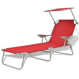 VidaXL Chaise longue avec auvent Acier Rouge