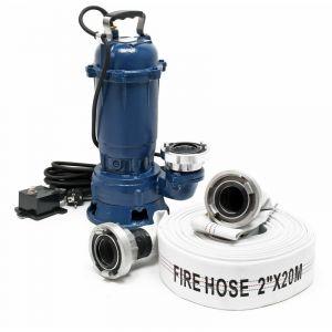 wiltec Pompe pour eaux usées 1100W 15.000l-h avec pompe submersible de 20m de flexible - 61965