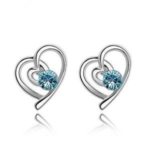 Blue Pearls Cry B357 W - Boucles d'oreilles Coeurs en Cristal Swarovski