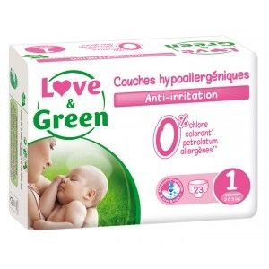 Love & Green Couches hypollaergénique anti-irritation taille 1 (2-5 kg) - 23 couches