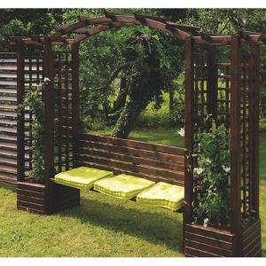 Jardipolys 0321118 - Pergola Florence en arc avec banc 320 x 60 x 233 cm
