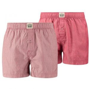 Levi's 300ls Striped Chambray Woven Boxer 2 Pack - Red - S