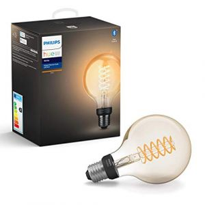 Philips Hue Filament White G93 E27 Hue Filament White G93 E27, Ampoule Intelligente, Noir, Gris, LED, E27, Lumière Blanche Douce, 550 LM