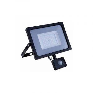 V-TAC 20W avec détecteur de Mouvement Projecteur LED de sécurité extérieur étanche avec Samsung LED Noir Corps Gris Verre IP65 3000K Blanc Chaud 1600 Lumens