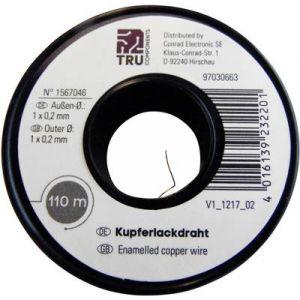 Tru Components Fil de cuivre émaillé 2UEWF 1567046 Ø ext. avec isolant: 0.20 mm 110 m