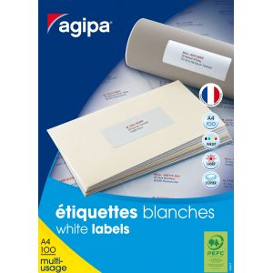 Agipa 100634 - 3200 étiquettes blanches multi-usage, format 51 x 33,8 mm (100 feuilles / cdt)
