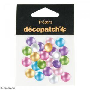 decopatch Cabochons ronds - Pearl pastel - 1 cm - 24 pcs