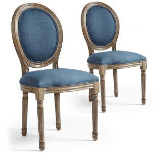 Menzzo Lot de 2 chaises de Style médaillon Louis XVI Tissu Bleu Clair, 46x49x96 cm