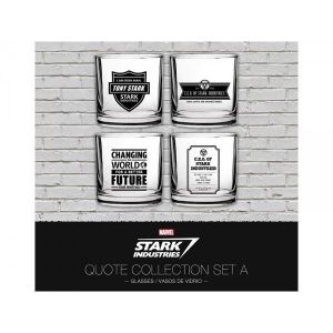 4 verres Marvel Iron Man Stark Industries Set 1