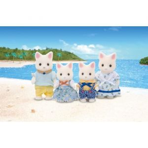 Epoch 3143 - 4 Figurines Famille Chat Soie