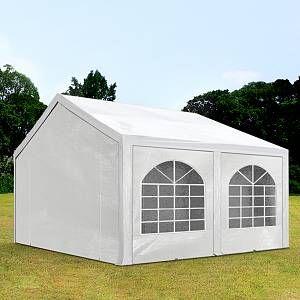 Intent24 Tente Barnum de Réception 3x4 m PE Bâches Amovibles 200-240 g/m² BLANC / Jardin Tonnelle Pavillon Chapiteau.FR