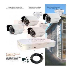 Kit de vidéosurveillance Full 960H avec 4 caméras extérieures - Neuf