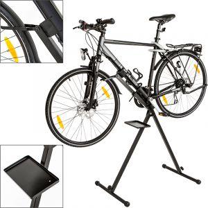 TecTake Pied d'atelier pour vélos VTT montage stand de réparation d'entretien pliable avec support pour outils