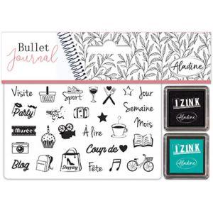 Aladine Kit de tampons Stampo Bullet Journal - Culture - loisirs - 27 tampons et 2 encreurs