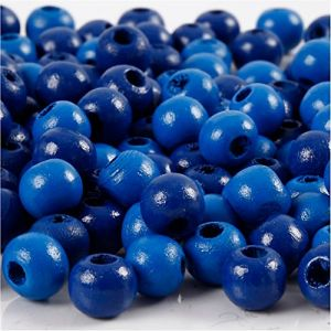 Perles en bois, d: 8 mm, bleu, 15gr, env 100 pièce
