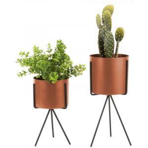Present time 2 Cache-pots sur pieds design Imbal - Marron