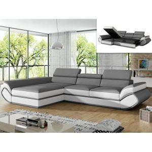 Canapé d'angle convertible en simili ORLEANS Gris et bandes blanc s Angle gauc