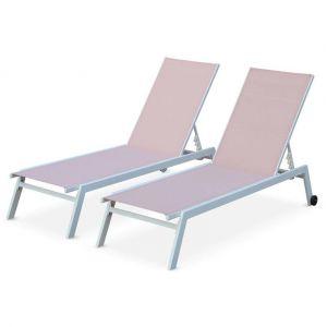 Alice's Garden Lot de 2 bains de soleil ELSA en aluminium blanc et textilène rose pale, transats multi positions avec roulettes