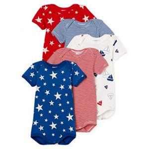 Petit Bateau 5 Bodies U Body Multicolore (Variante 1 00), 6-9 mois (Taille fabricant:6M) (Lot De 5 Bébé garçon