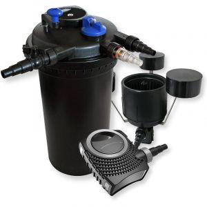 wiltec Kit de Filtration Bassin à Pression 30000l Stérilisateur UVC 18W 70W Pompe éco Ecumeur