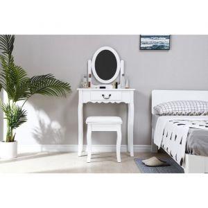 Coiffeuse avec Miroir + Tabouret Décor Blanc et pied en bois L 66 x P 36,5 x H 127
