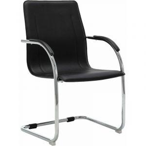 VidaXL Chaise de bureau cantilever Noir Similicuir