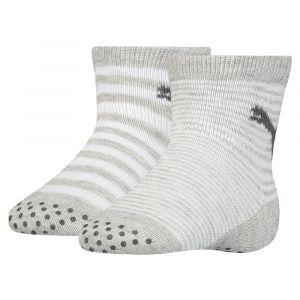 Puma Lot de deux paires de chaussettes antidérapantes pour bébés, Gris/Melange, Taille 19-22 |