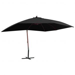 VidaXL Parasol suspendu avec mât en bois 400x300 cm Noir