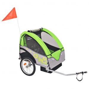 VidaXL Remorque de velo pour enfants gris et vert 30 kg