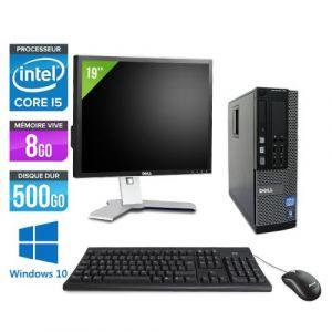 Dell Optiplex 790 SFF + Ecran 19'' - Intel Core i5-2400 / 3.10 GHz - RAM 8 Go - HDD 500 go - DVD - GigaBit Ethernet - Windows 10 Professionnel