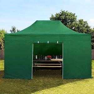 Intent24 Tente pliante 3x4,5 m sans fenêtre vert fonce PROFESSIONAL tente pliable ALU pavillon barnum.FR