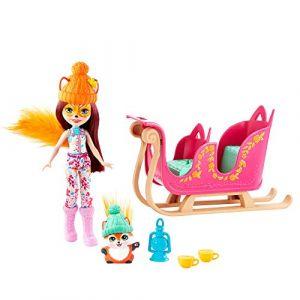 Mattel Enchantimals coffret Aventure en Traîneau, mini-poupée Felicity Renard, figurine animale Flick, traîneau et accessoires, jouet pour enfant, GJX31