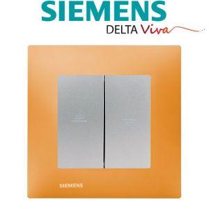 Siemens Interrupteur Volet Roulant Silver Delta Viva + Plaque Orange