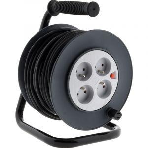 Zenitech Enrouleur HO5VV-F 4 prises 3G1,5 40m + coupe-circuit