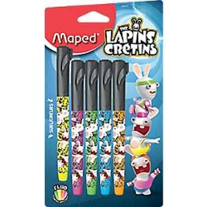 Maped Fluo'Peps Pen Les Lapins Cretins 734015 Blister de 5 Surligneurs