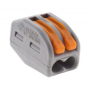 Wago Lot de 50 mini bornes de connexion rapide à levier S222 pour fils rigides et souples 2 entrées