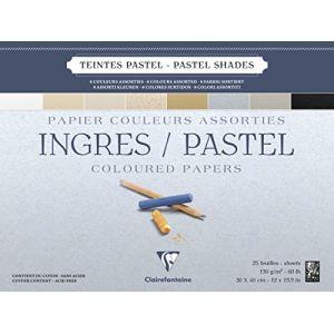 Clairefontaine 96488C - Bloc encollé de 25 feuilles de papier vergé Ingres Pastel, 130 g/m², 30x40, coloris assortis pastel