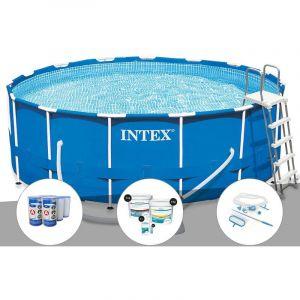 Intex Kit piscine tubulaire Metal Frame ronde 4,57 x 1,22 m + 6 cartouches de filtration + Kit de traitement au chlore + Kit d'entretien