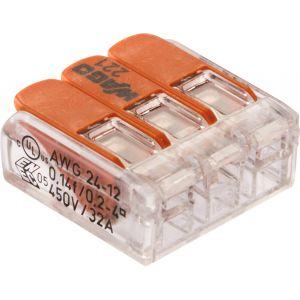 Wago Borne de raccordement 221-413/996-012 flexible 0.14-4 mm² rigide 0.2-4 mm² pôles 3 transparent, orange 12 pc(s)